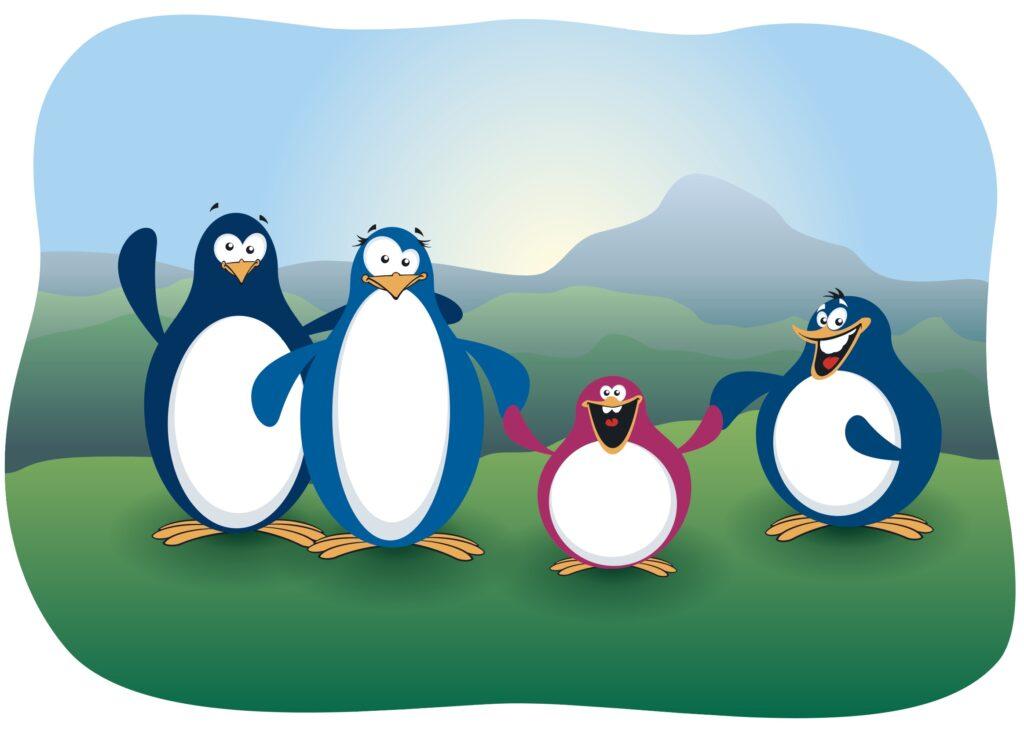 Geburtsanzeige mit Pinguinen